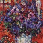 03_Chagall Bologna_Bouquet de fleurs sur fond rouge